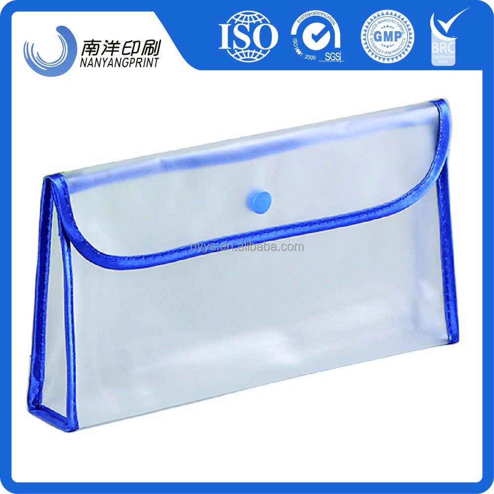 Many Size Transparent Matte Pvc Makeup Bag/Waterproof Cosmetic Pouches With Button