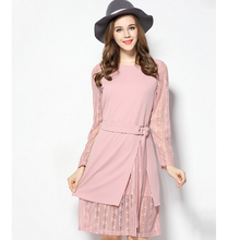 European wind 2017 Spring women dress pink color large size fake two pieces with belt lace material ladies dress