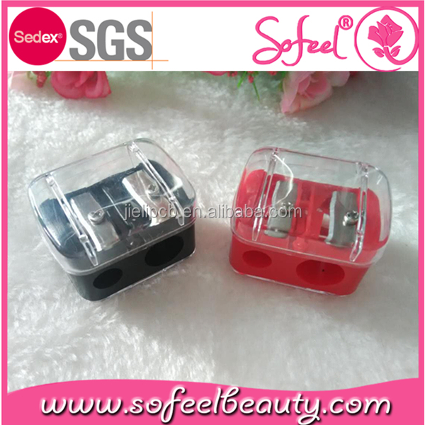 High quality eyebrow pencil two holes colorful sharpener