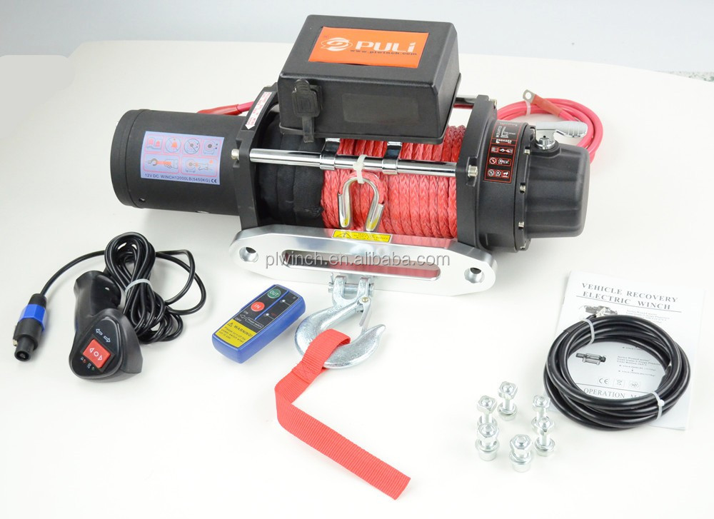 4x4 fast speed winch 12000lb electric off road winch with synthetic rope CE approved