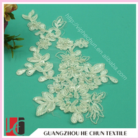 WHH-304 New Hand Work Design Polyester Lace 3d Flower Applique for Formal Dress