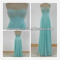 Baby blue wrinkle chiffon chest beaded strapless designer one piece dress