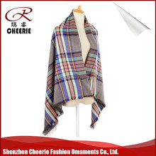 high quality cashmere feel 100 acrylic ladies winter tartan scarf shawl