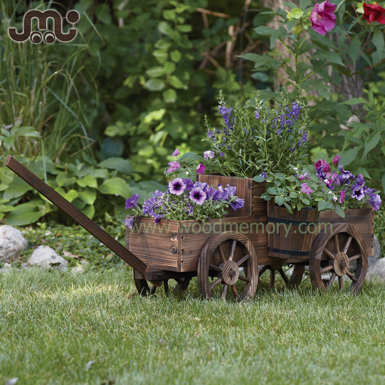 Vintage wagon design handmade wooden plant stand