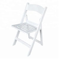 top quality white wedding resin folding chair with slat seat