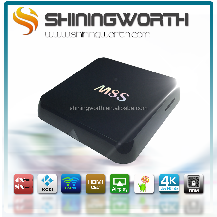 Shiningworth FUll HD 4K2K Google Android4.4 kitkat amlogic S812 TV Box quad core streaming media player 2G 8G