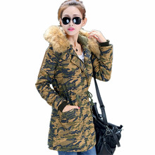 100% Cotton Bomber Flight Hoodie Army Military Biker Padding Hooded Raccon Fur Digital Snow Camo Down Jacket Long