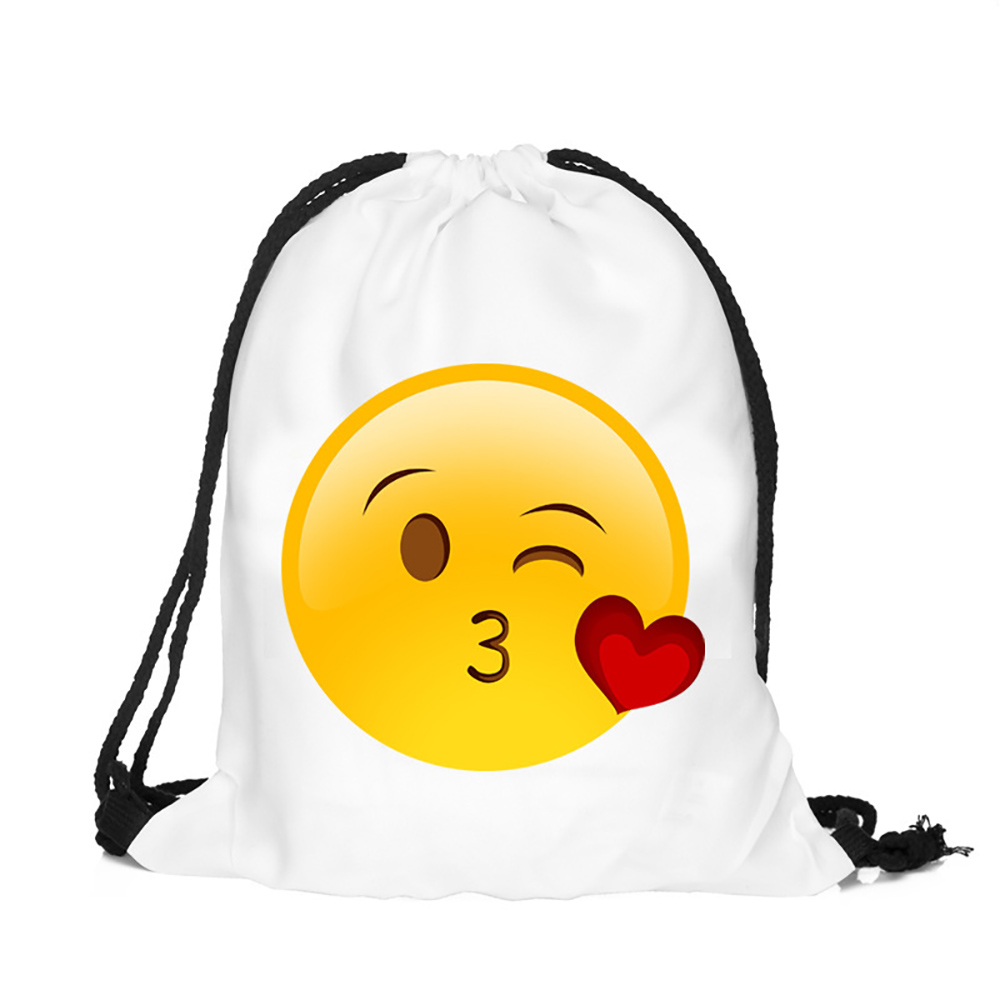 2017 Emoji Polyester Drawstring Backpack Promotional School Bag for Chidren