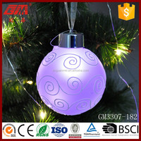 China baoying blown led christmas glass hanging ball ornaments