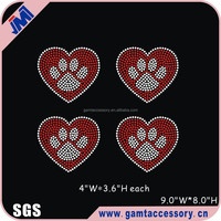 Bling pawprint motif iron on rhinestone transfer design for tshirt