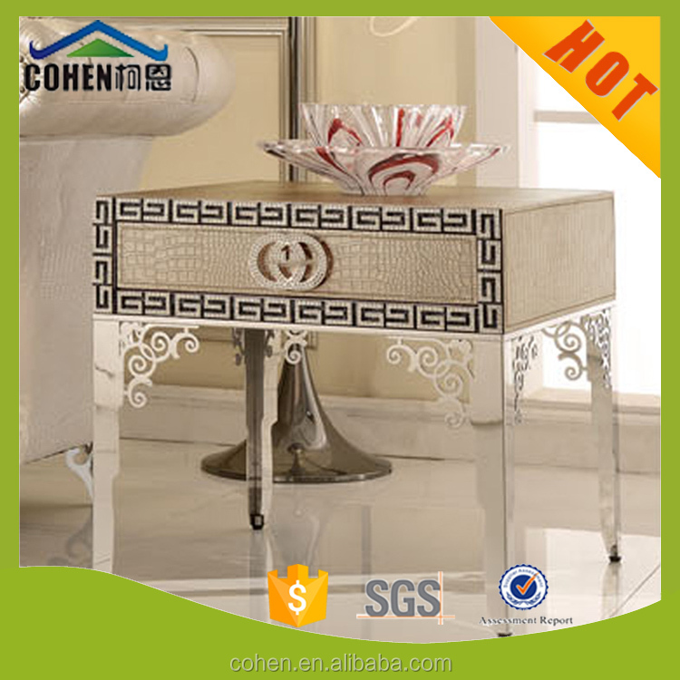 crocodile texture stainless steel high end/side table/modern furniture design