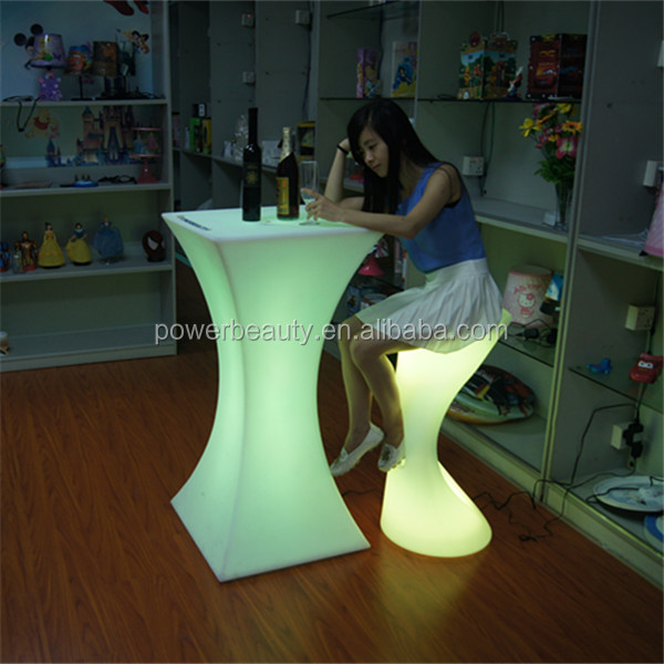 PE plastic material colorful rechargeable led illuminated waterproof cocktail lighting table