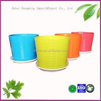 wholesale garden decor cheap color stackable 3 petal plastic flower pots