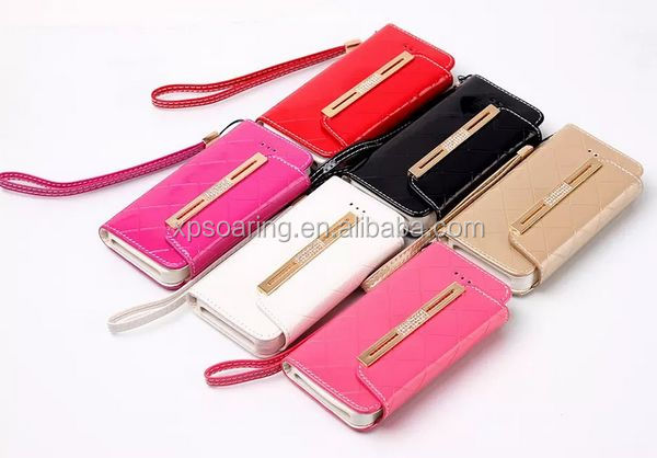 Diamond wallet leather case for iphone 5G 5S, handbag case for iphone 5