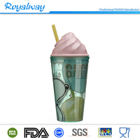 Nice shape custom plastic cup with ice cream shape lid and straw