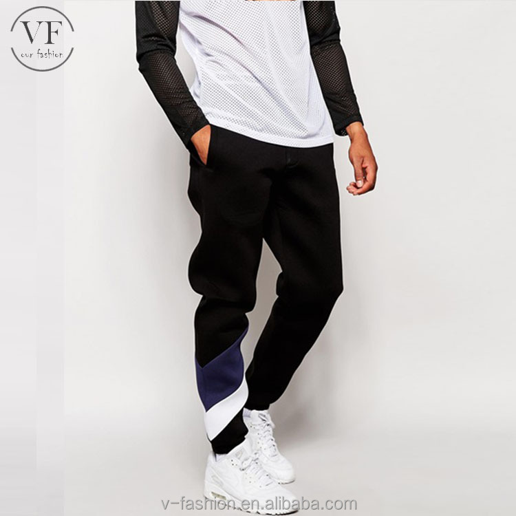 wholesale fashion mens skinny joggers black training track pants with striped leg