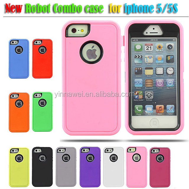 2 in1 Plastic +TPU Hybrid Shockproof Combo Cover Case for Apple iPhone 5 5S