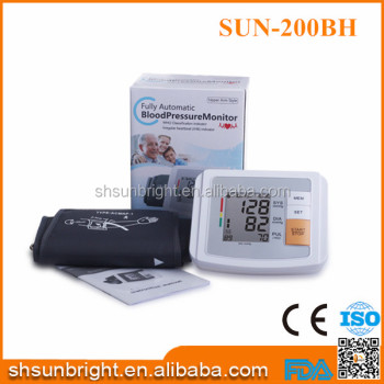 SUN-200BH CE FDA certificate fully Digital shanghai arm Blood Pressure Monitor