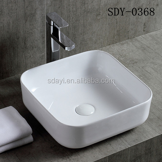 ceramic new design small size thin edge one piece bathroom sink and countertop basin