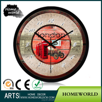 Funny design London style outdoor wall clock for coffee bar decor
