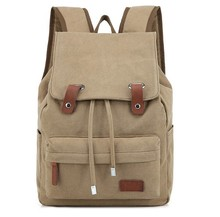 New design khaki cotton canvas backpack for teens girls man laptop backpack school bag