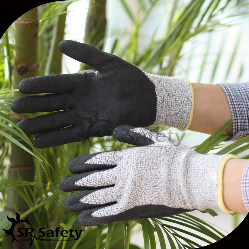 SRSAFETY foam nitrile coated protective gloves cutting glass gloves