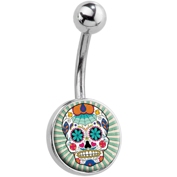 new arrive flat logo picture lovely skull belly button ring navel piercing jewelry ring