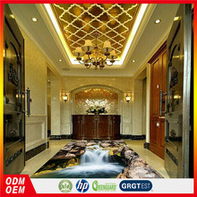 natural scenery epoxy floor sticker waterfall and stone design HD photo 3d floor and wall sticker for mall