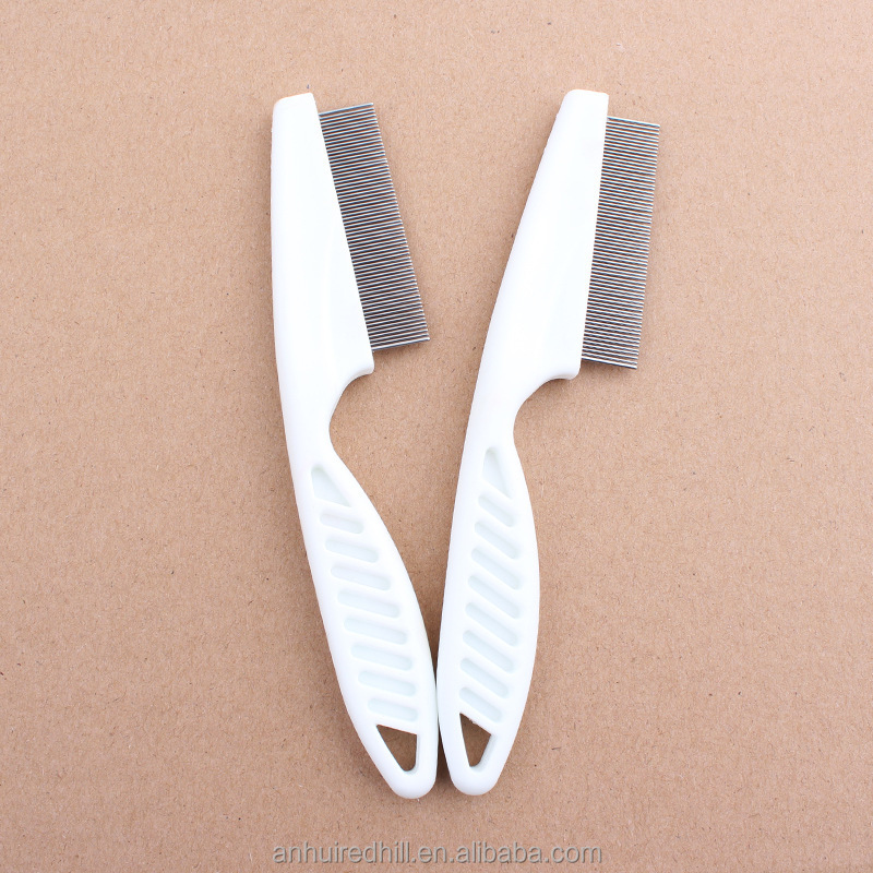 Redhill Lightweight White pet dog flea comb Stainless Steel Dog Grooming Comb Fine-Tooth Pet Hair Comb