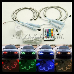 4X 131MM RGB Multi-Color 5050 Flash LED SMD Angel Eyes Kit Xenon Headlight For BMW E36 E38 E39 E46 3 5 7 Series