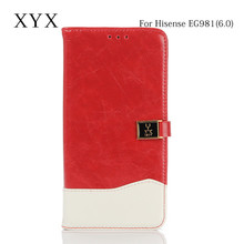 phone accessory custom metal clasp flip pu leather cover case for hisense EG981