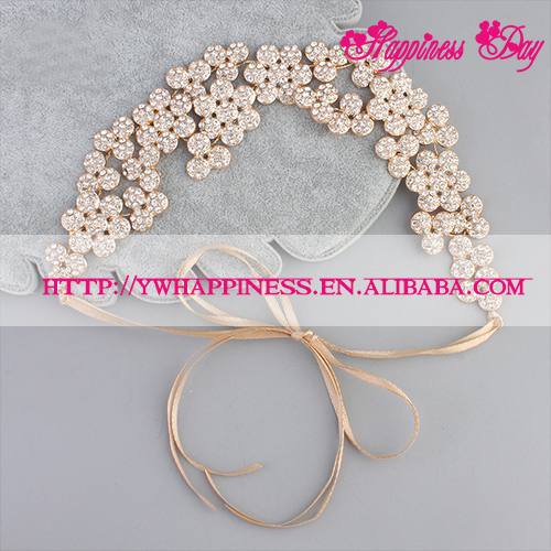 Women Bride Gold & Silver Flower Crystal Headband Floral Hair Ornaments Bridal Wedding Hair Accessories