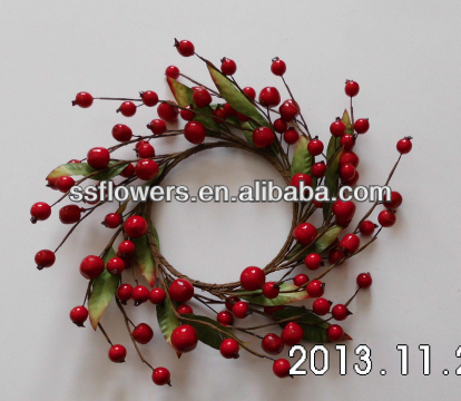 "2014 New Artificial Flower 4"" Christmas Decoration Red Berry Candle Ring"