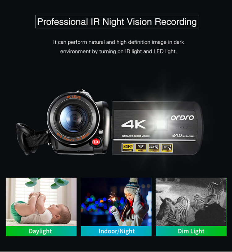 Ordro Original Camera 4K Wifi 4k Ultra HD Video Camera 4k with Infrared Night Vision Professional Camera