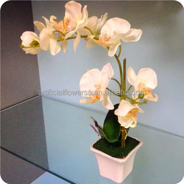 2015 silk artificial phalaenopsis orchid in pot