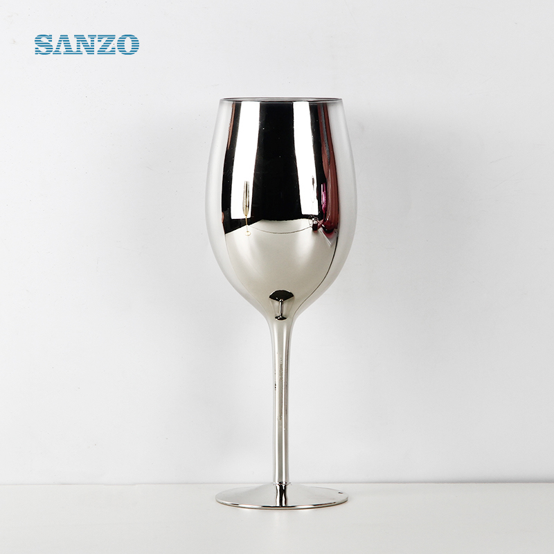Drinkware lead free long stem crystal wine glass with silver rim