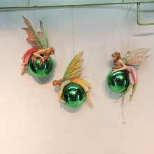 Christmas bauble green fairy ball figurine