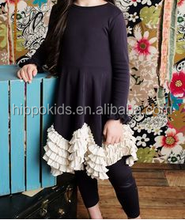 Wholesale black ruffled dress and capris for girls tunic 100% autumn winter clothes girls boutique outfits