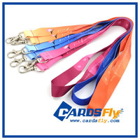 High quality custom tool safety bright color shiny lanyards with double metal clips