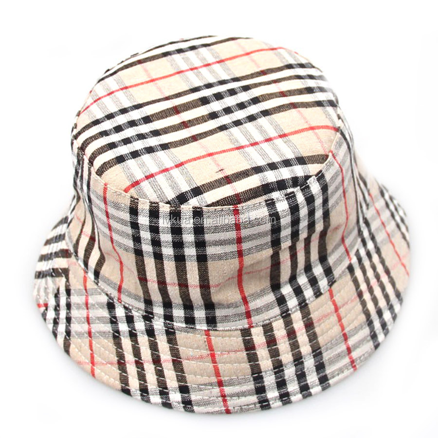 Children Plaid Bucket Hats for Travel Climbing