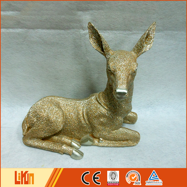 High quality sitting pose golden home ornaments polyresin reindeer without antlers