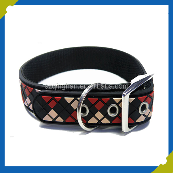 Brown Fastener Pet Collar for Dog or Cat With ABS or Alloy Metal Buckle Trim