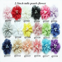 Petite chiffon fabric mesh tulle flower with pearls,chiffon flower with pearls center hair flower