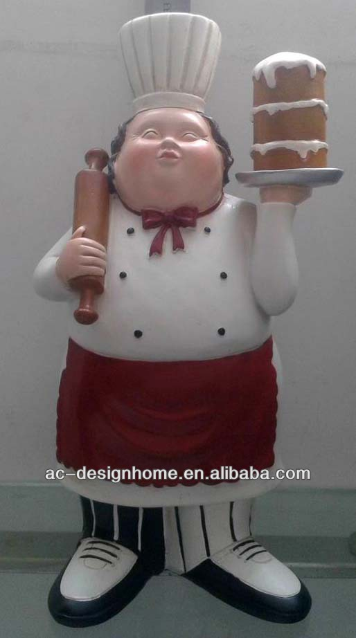 POLYRESIN CHEF FIGURINE W/CAKE