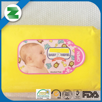 Made of 45/50gsm spunlace nonwoven fabric 40%-100% cotton baby wet wipe