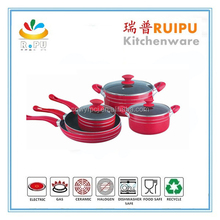 Hot selling South America 9Pcs cut edge aluminum pink cookware lid enterprise quality cookware