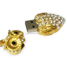 8GB USB Crystal Gold/sliver Colored Owl Style USB Flash Drive with necklace