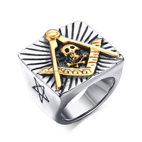 KSF 2016 Latest Design Silver Masonic With Skull Design Stainless Steel Ring Wholesale