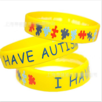 2016 new product medical alert autism awareness yellow rubber bracelets