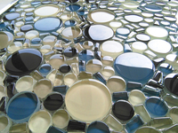 8mm thickness multi mixed glass round shape mosaic tile